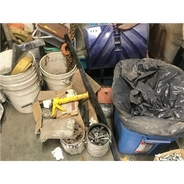 ASSORTED  ITEMS ON FLOOR (2 TRAILER HITCHES, SHOVELS, NUTS & BOLTS, HOIST CLAMP ETC.)