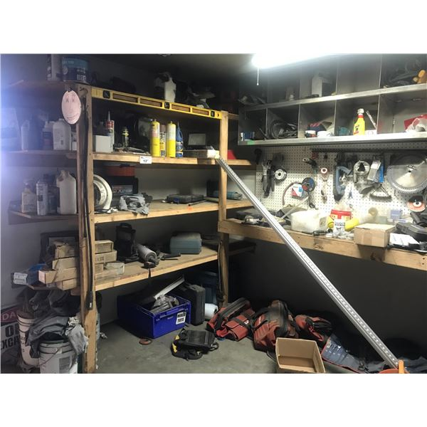 REMAINING CONTENTS OF TOOL ROOM INCLUDES: TOOL BAGS, WRENCHES, 2' PIPE WRENCH, TRAILER HITCH, ASSTD