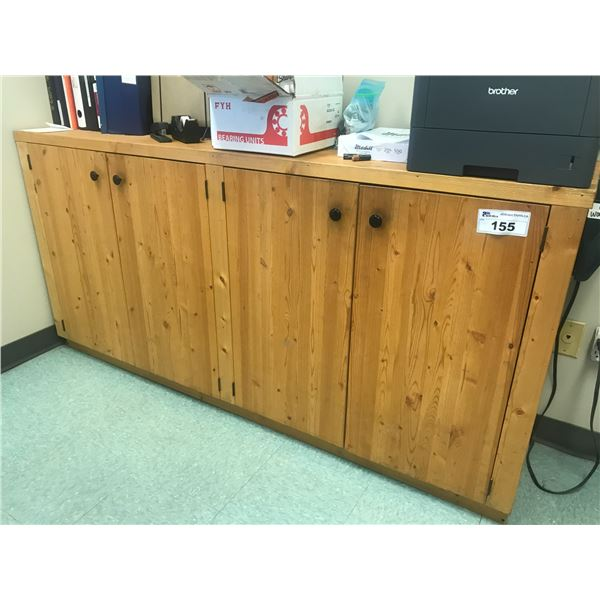 WOODEN PINE CREDENZA 6' WITH CONTENTS