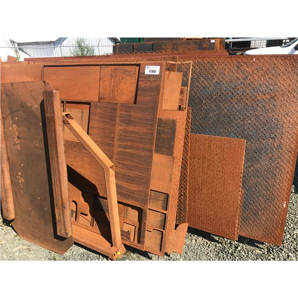 """RACK OF ASSTD STEEL OFF CUTS - INCLUDES: 3 SHEETS 4' X 8' CHECKERBOARD 1/4"""""""