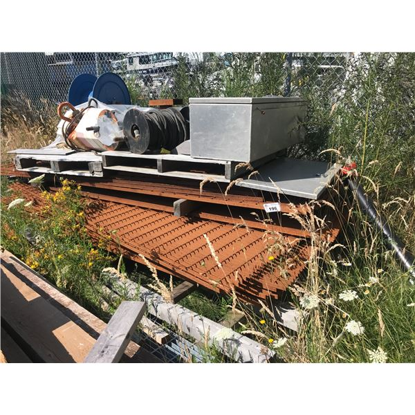 PILE OF METAL DECKING - APPROX 12 SHEETS PLUS CONTENTS ON TOP OF DECK