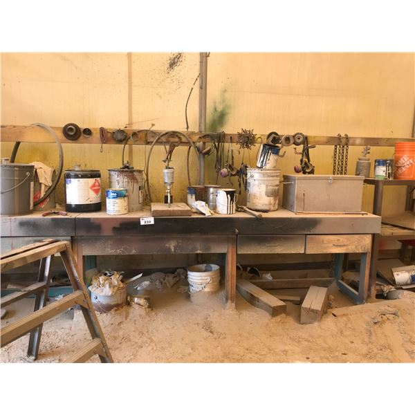 CONTENTS OF WORK BENCH INCLUDES TO CHAINS, SPRAY GUNS ETC.