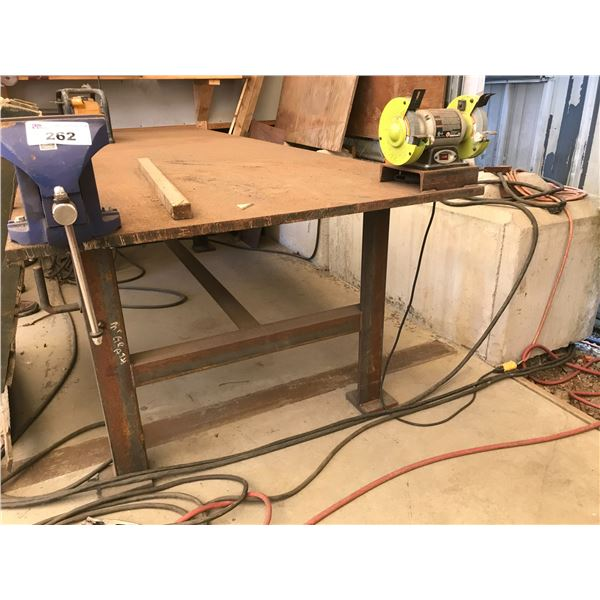 """4' X 10' FABRICATION TABLE 1"""" THICK INCLUDES 8"""" VISE & RYOBI GRINDER"""