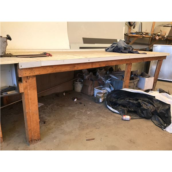 2 SHOP BENCHES 10' & WILDER WORKHORSE ROTARY SHEAR MODEL 1424