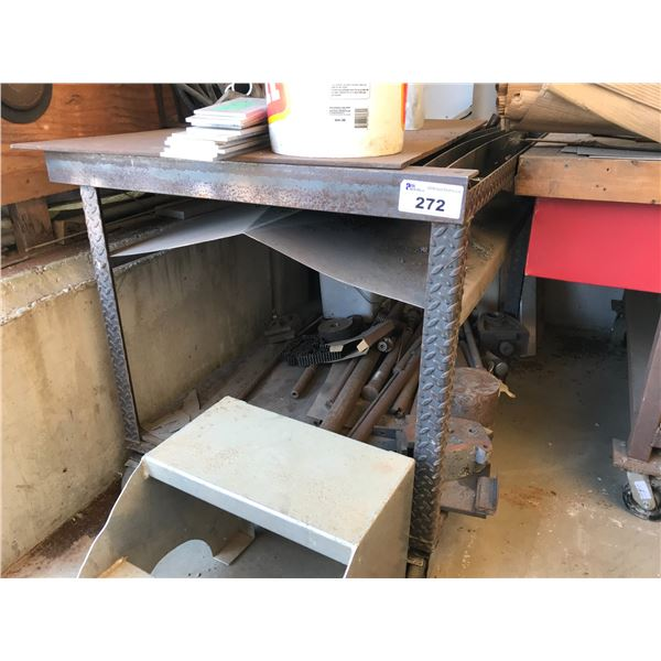 """STEEL CUTTING TABLE 46"""" X 37"""" ON WHEELS INCLUDES CONTENTS"""