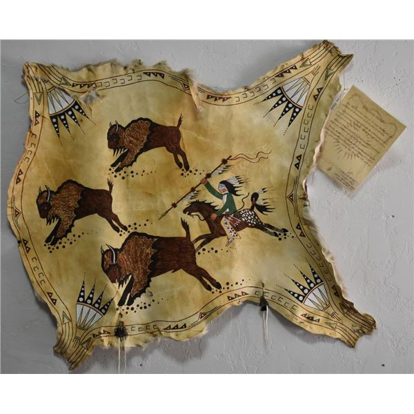 SIOUX INDIAN HIDE PAINTING (MARTIN & BRANDY ANNAJO)