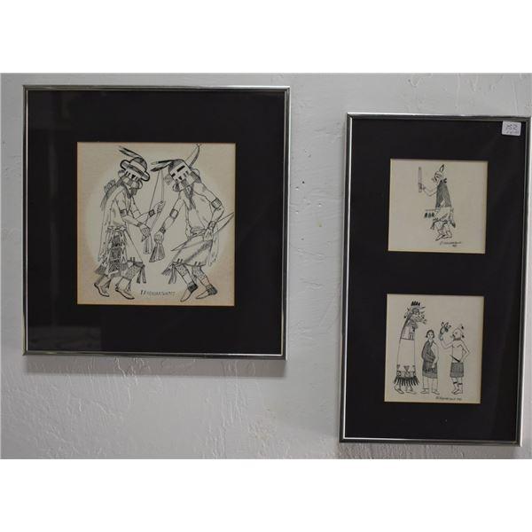 HOPI INDIAN PEN AND INK DRAWINGS (HONVANTEWA)