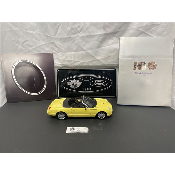 1/18th Scale Thunderbird Diecast Car plus Ford Motor Company Pamphelt, Book and License Plate