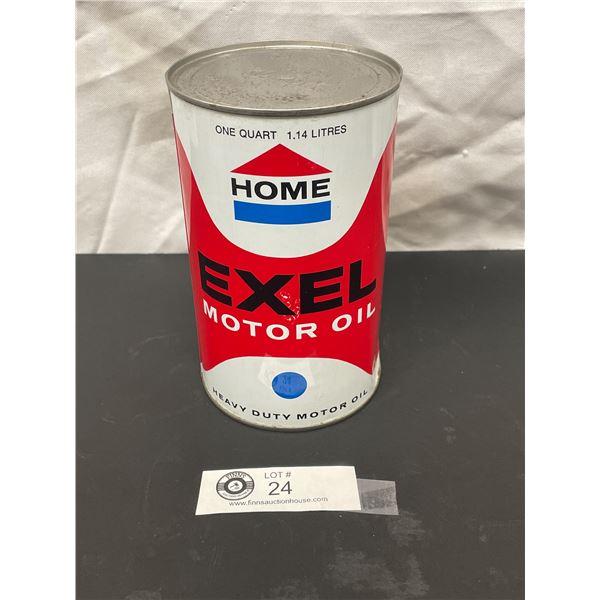 Vintage Full One Quart Home Exel Motor Oil Tin in Nice Shape