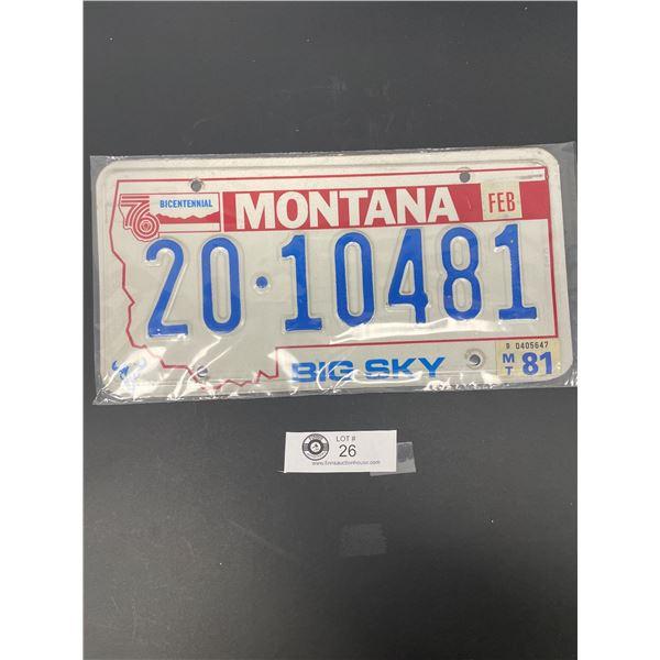 1981 Montana License Plate