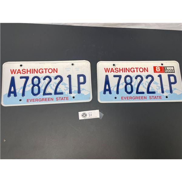 Pair of Washington Evergreen State License Plates