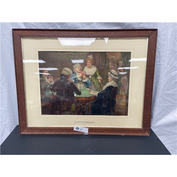 Nicely Framed Print A Winters Evening Poker Game 27 x 21