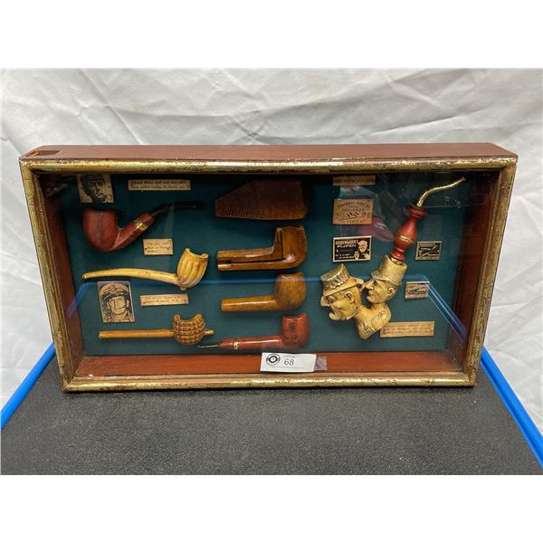 Nicely Made Decorative Shadow Box with Pipes and Advertisement