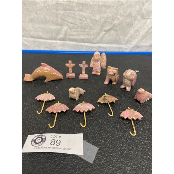Rhodonite (Gemstone) Animals, Totems and Brooches