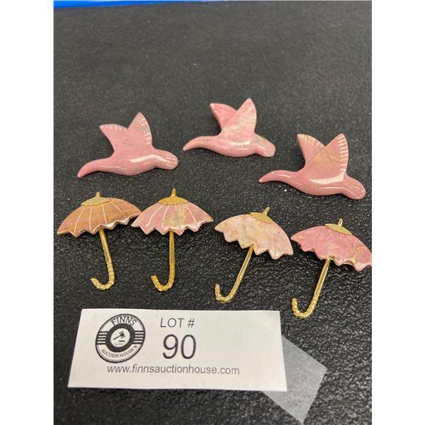 Rhodonite (Gemstone) Brooches. Birds and Umbrellas