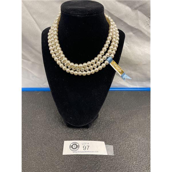 Brand New Kimono Brand 3 Strand Pearl Necklace.