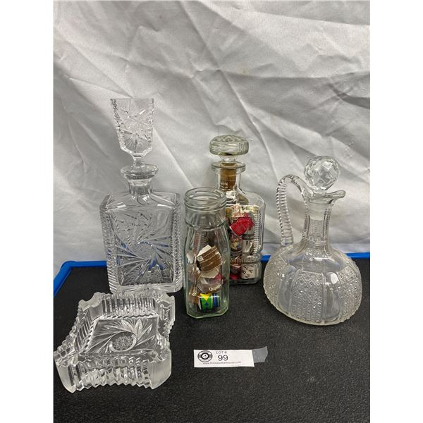 Nice lot of Vintage Decanters, Ashtray and Cigar Labels