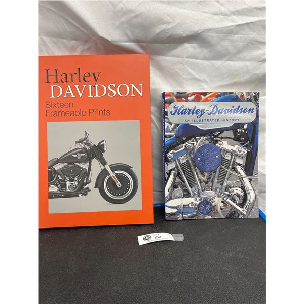 Nice Boxed Lot of 16 Framable Harley Prints and A Harley Davidson Illustrated Book