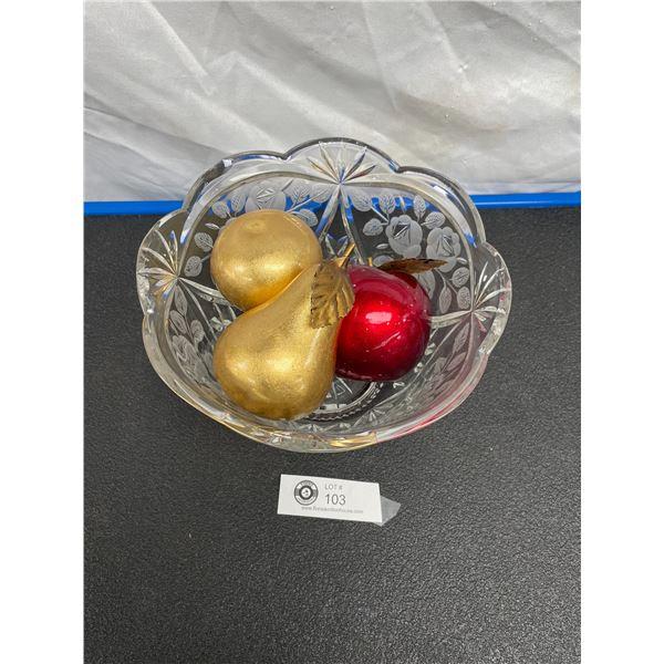 Very Nice Decorative Glass Fruit Bowl with Decorative Fruit