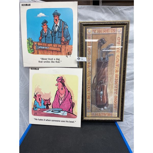 Nice 27inch Tall Golf Clubs Picture plus Two Herman Prints