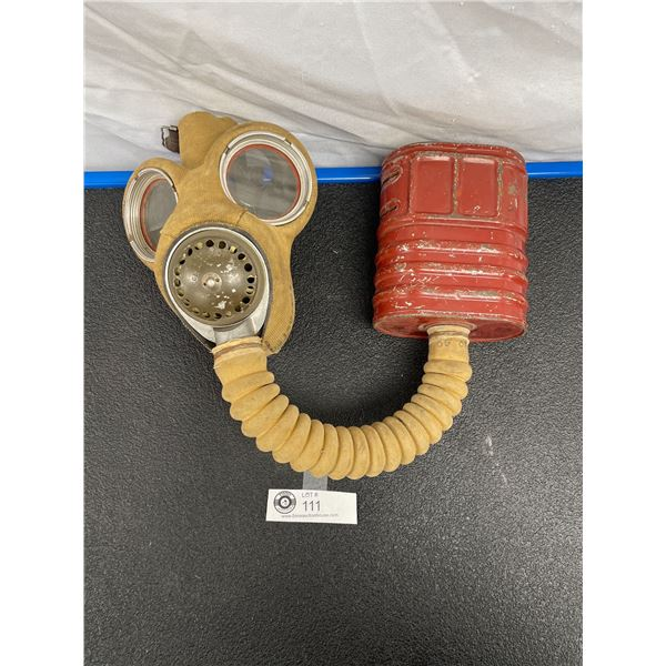 WW2 Gas Mask Face Piece and Filter Container Both have Appropriate Markings, Great Shape