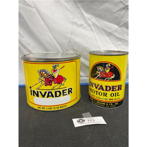 Rare Original Invader Motor Oil Tin Empty and Invader Five Pound Grease Tin Empty, Chas. F. Kellom a
