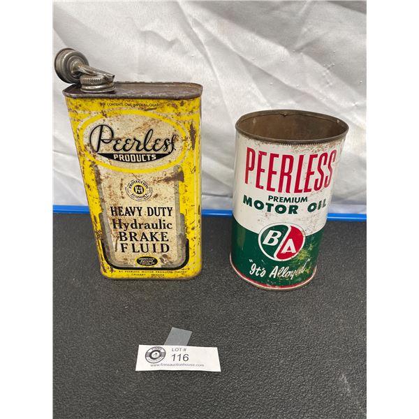 Canadian Peerless Products Heavy Duty Hydraulic Brake Fluid Tin One Imp Qt  Peerless Premium B/A Mot