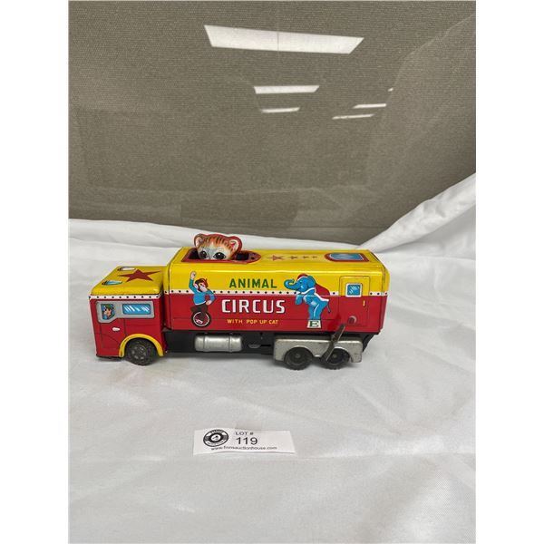 Japan Tin Windup Toy Circus Truck with Pop up Cat- Great Graphics