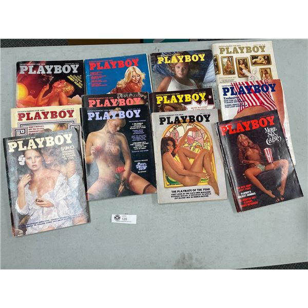 12 Issues of 1975 Playboy Magazines