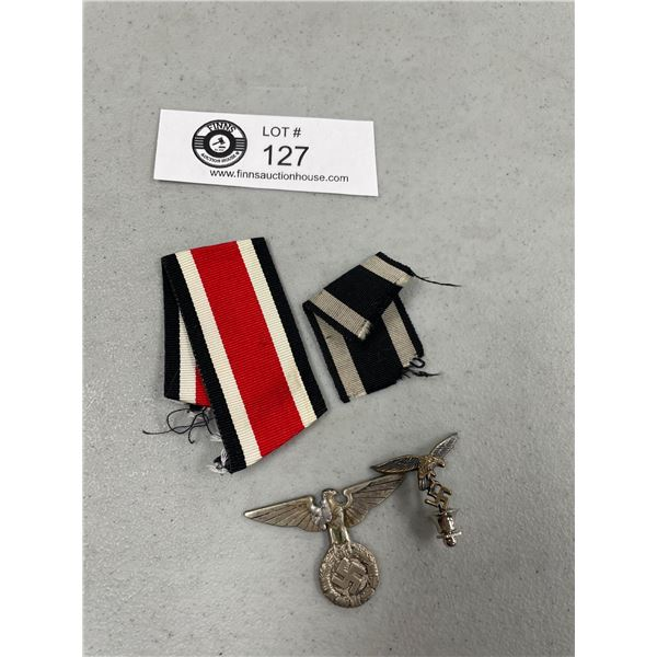 A German WWII Early SS Badge No Pin Luftuaffe Pin and Ribbon