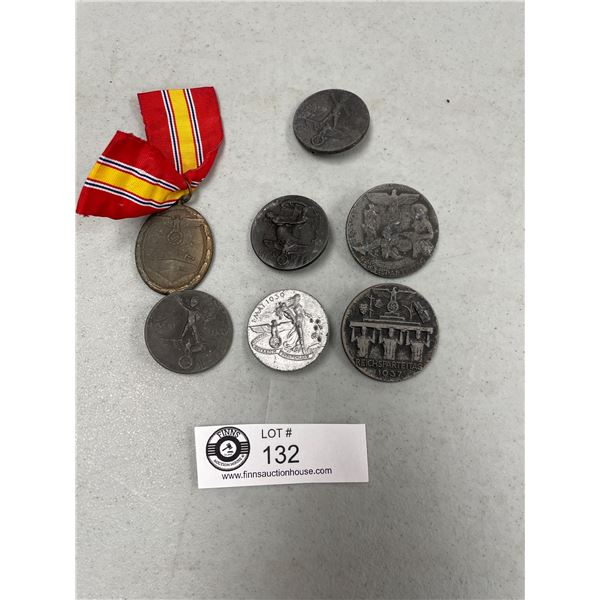 Lot of German WWII Tinnie Badges Some with Ribbon