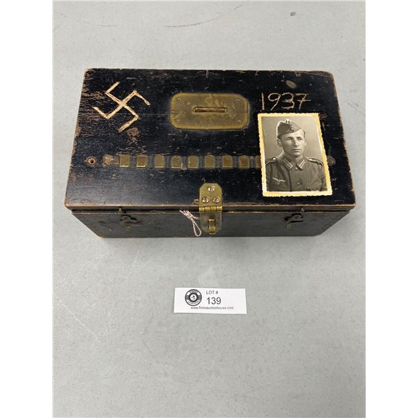 WWII German Soldiers Box with Nazi Podium Flag Cap Badge Photos Etc. All Authentic
