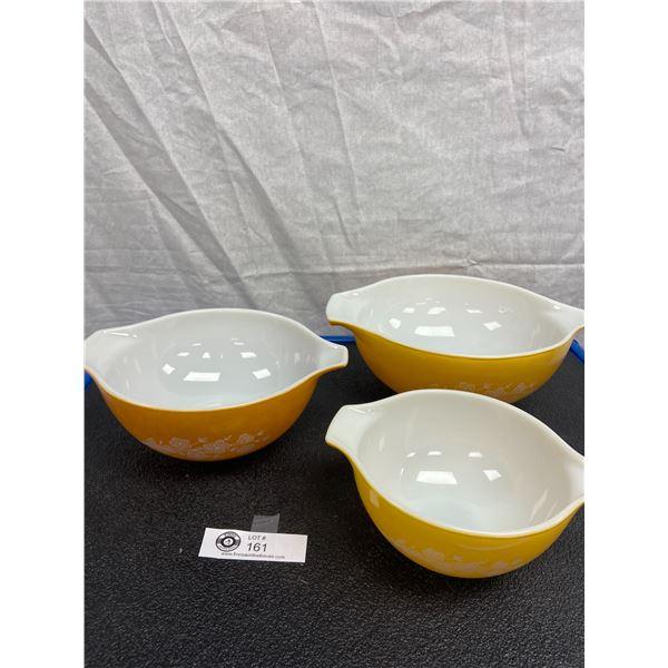 Vintage Three Piece Pyrex Gold Bouquet Nesting Bowls