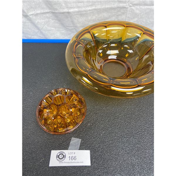 Vintage Amber Art Deco Bowl with Glass Flower