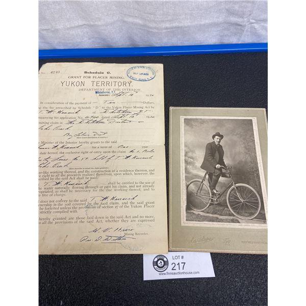 New Westminster Photo, Man on Bike, White Horse Yukon Territory Document