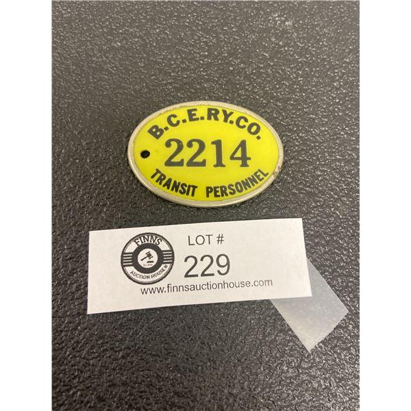 British Columbia Electric Railway Co ID Tag 2214 BCERY CO