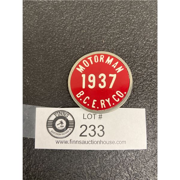 Motorman British Columbia Electric Railway Co Badge 1937 BCERY CO