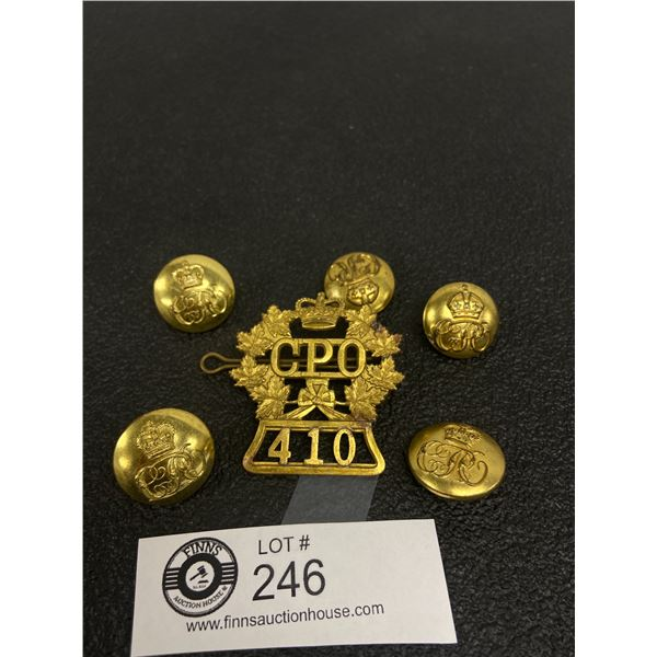 6 x Canada Post Office Set 410 Cap Badge, Buttons