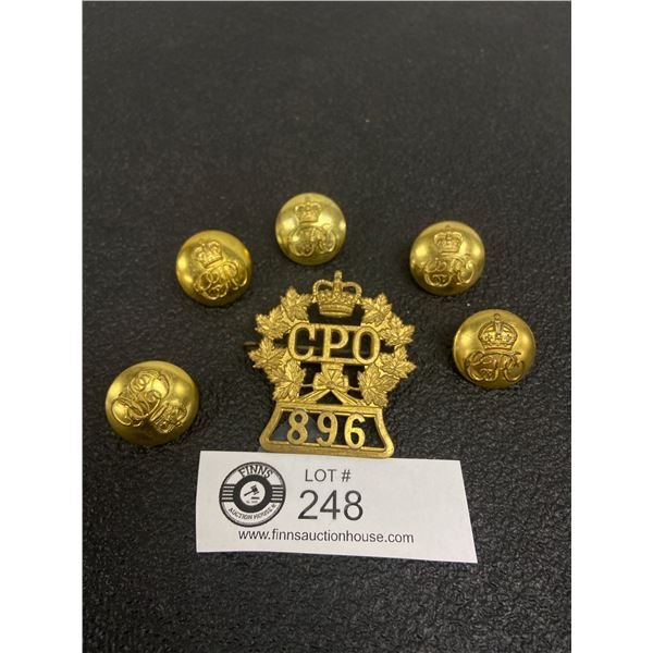 6 x Canada Post Office Set 896 Cap Badge, Buttons