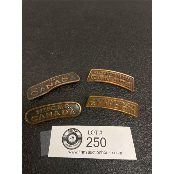 4x WW1 Canadian Shoulder Badges 54 CAN INF 2X 131 CAN INF , 11 CMR, Canadian