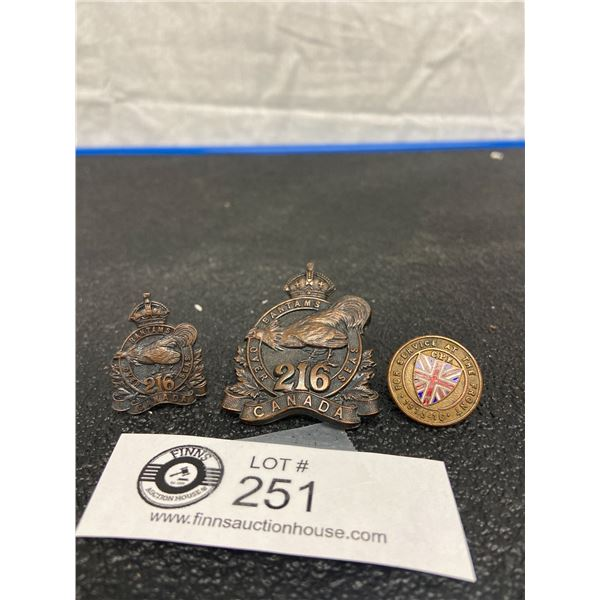 3 x WW1 216 CAN INF Cap Badge, Collar, Front Badge Canadian