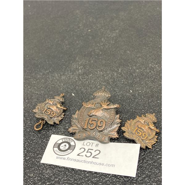 3 x 159 CAN INF Cap Badge, Two Collars, Canadian