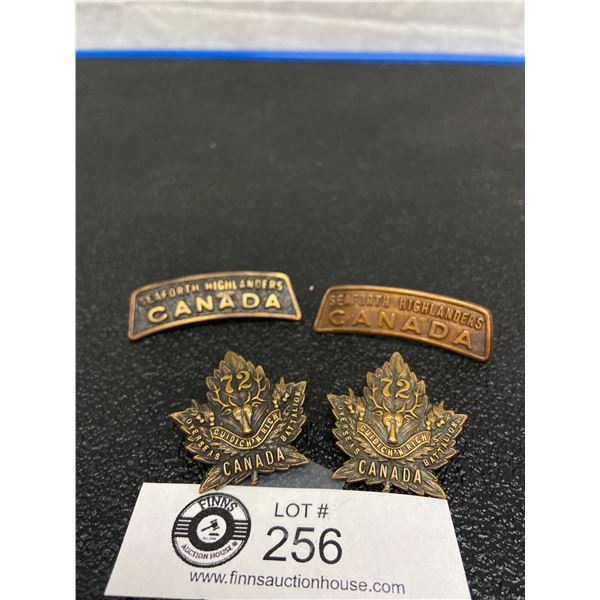 4 x WW1 Canadian 72 CAN INF Two Collars, Two Shoulders, Seaforth Highlanders