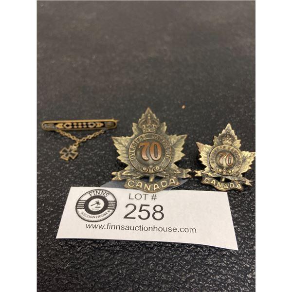 3 x WW1 Canadian 70 CAN INF Cap Badge, Collar, WW1 German Sweetheart Pin