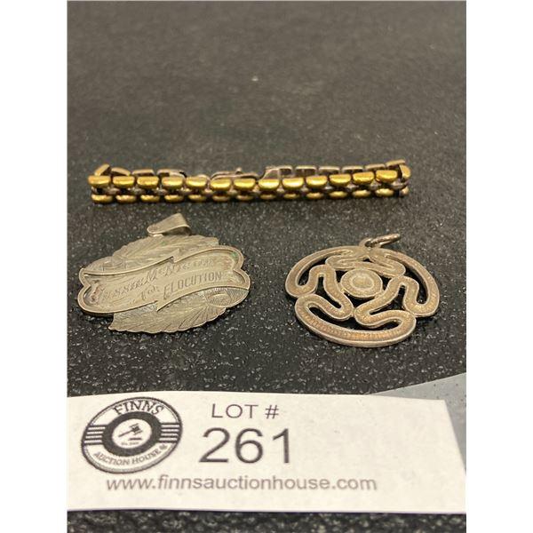 3 x Silver Bracelet Two Silver Charms