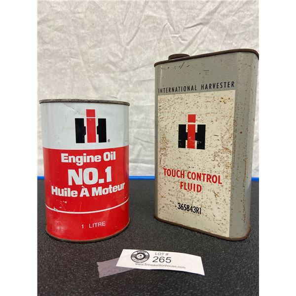 International Harvester Touch Control Fluid Tin One Quart and Engine Oil Number One Tin, One Litre,