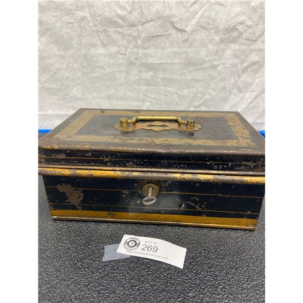 Vintage Cash Box with Key and Carrying Handle on Lid
