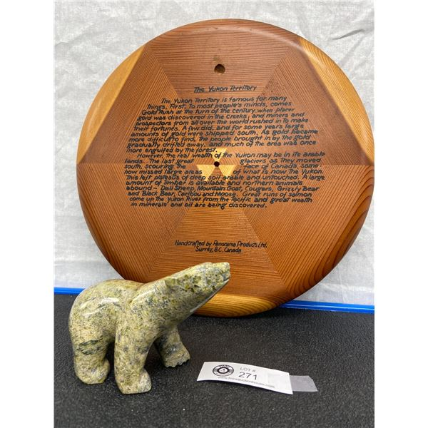 Carved and Polished Polar Bear with Yukon Territory handcrafted Plaque, Beautiful Items