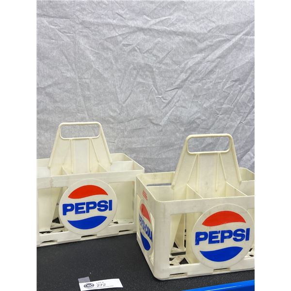 Two Vintage Pepsi Cola 6 x 750ml White Plastic Bottle Holder Carrying Case