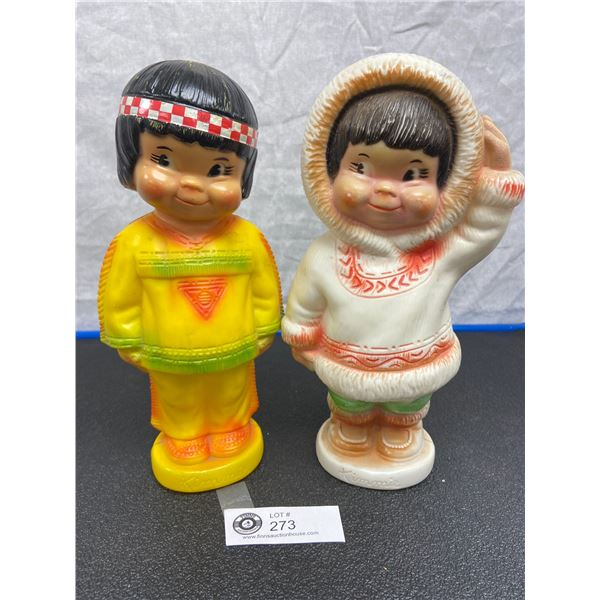Vintage 1960's Regal Canada Kimmie Eskimo Plastic Coin Bank and Native Plastic Coin Bank